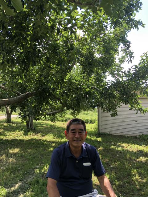 玉木組合長のりんごの畑を訪問しました
